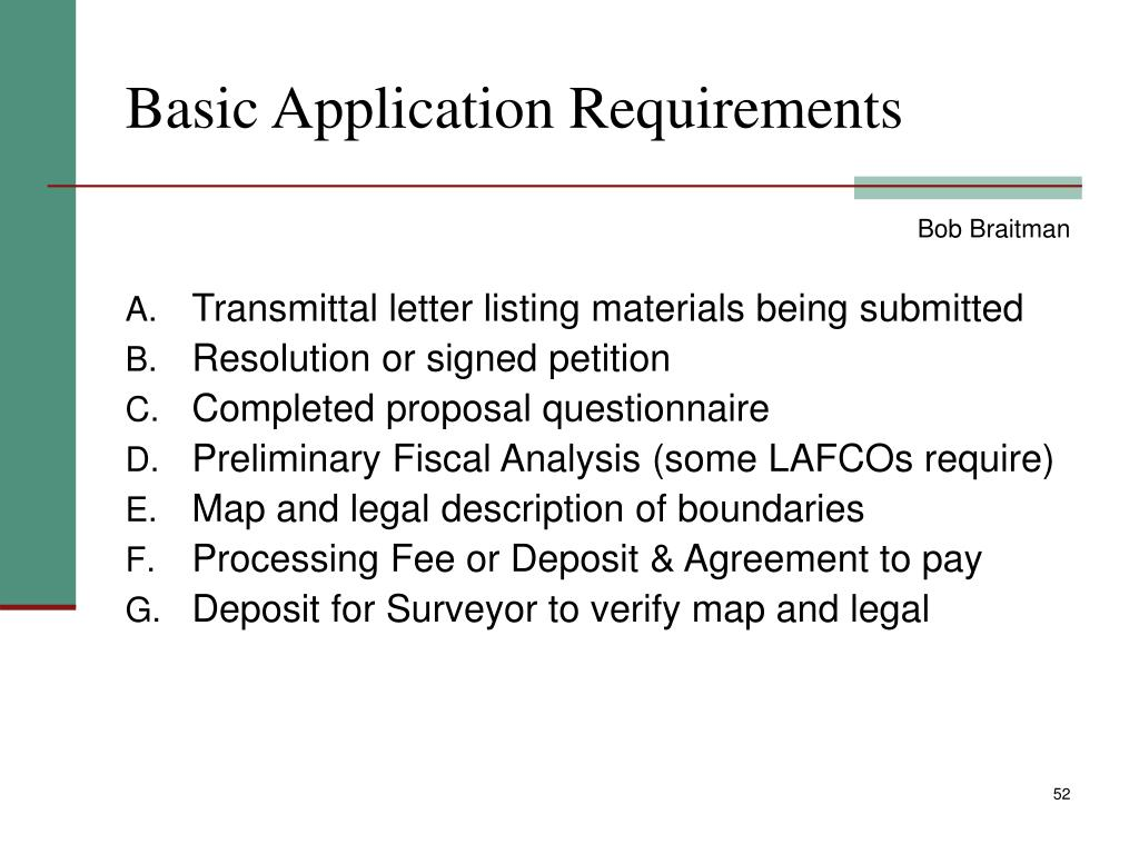 Basic Application Requirements