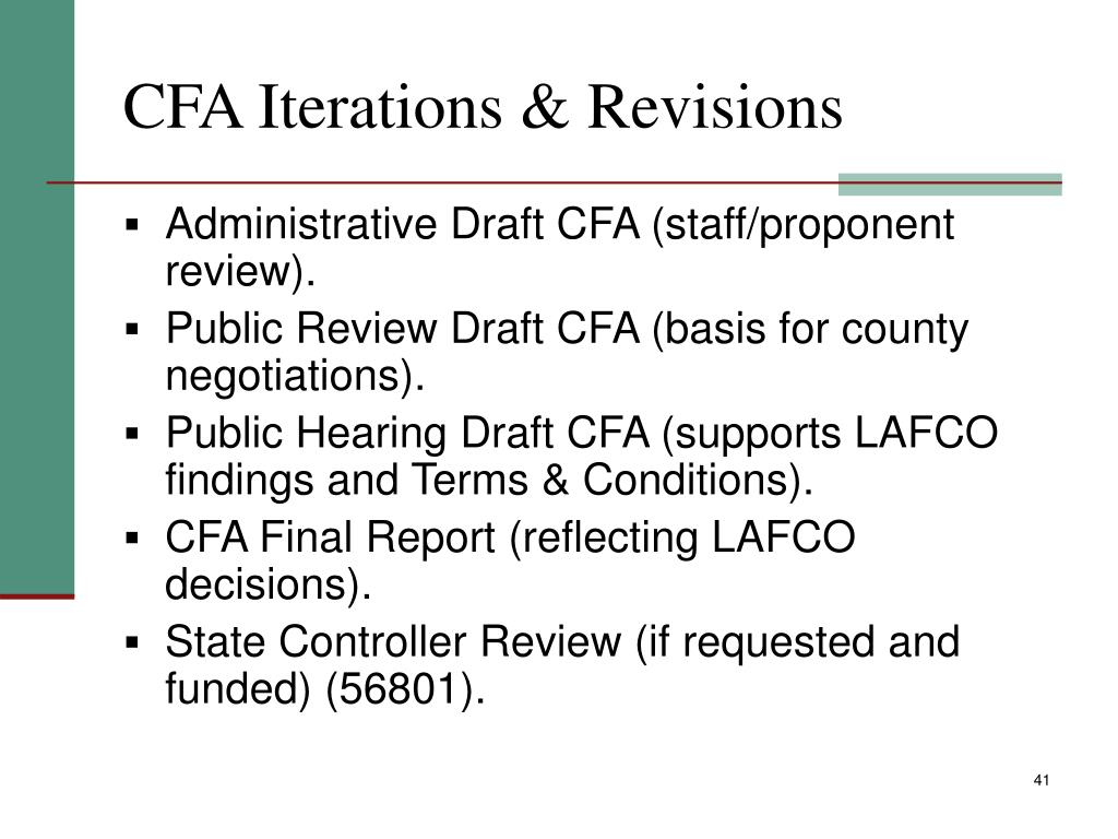 CFA Iterations & Revisions