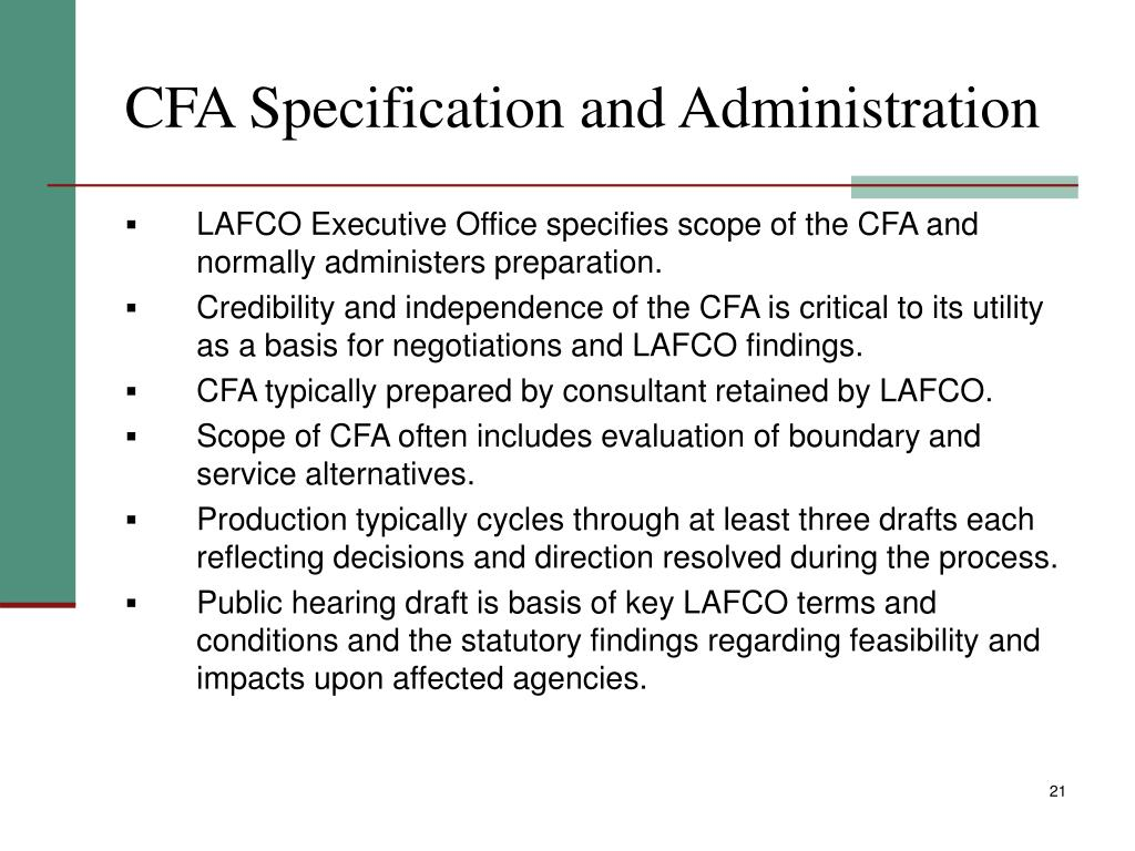 CFA Specification and Administration