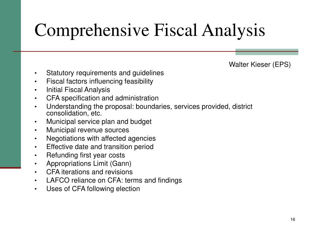 Comprehensive Fiscal Analysis