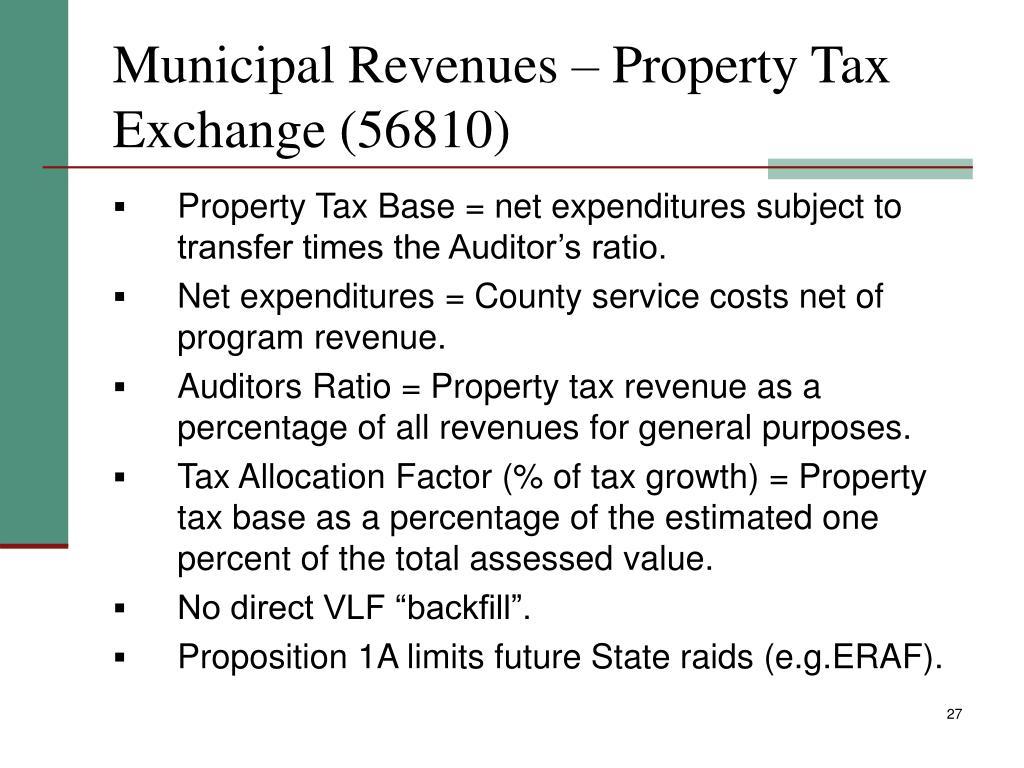 Municipal Revenues – Property Tax Exchange (56810)