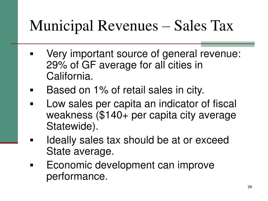 Municipal Revenues – Sales Tax