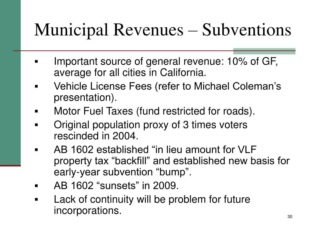 Municipal Revenues – Subventions