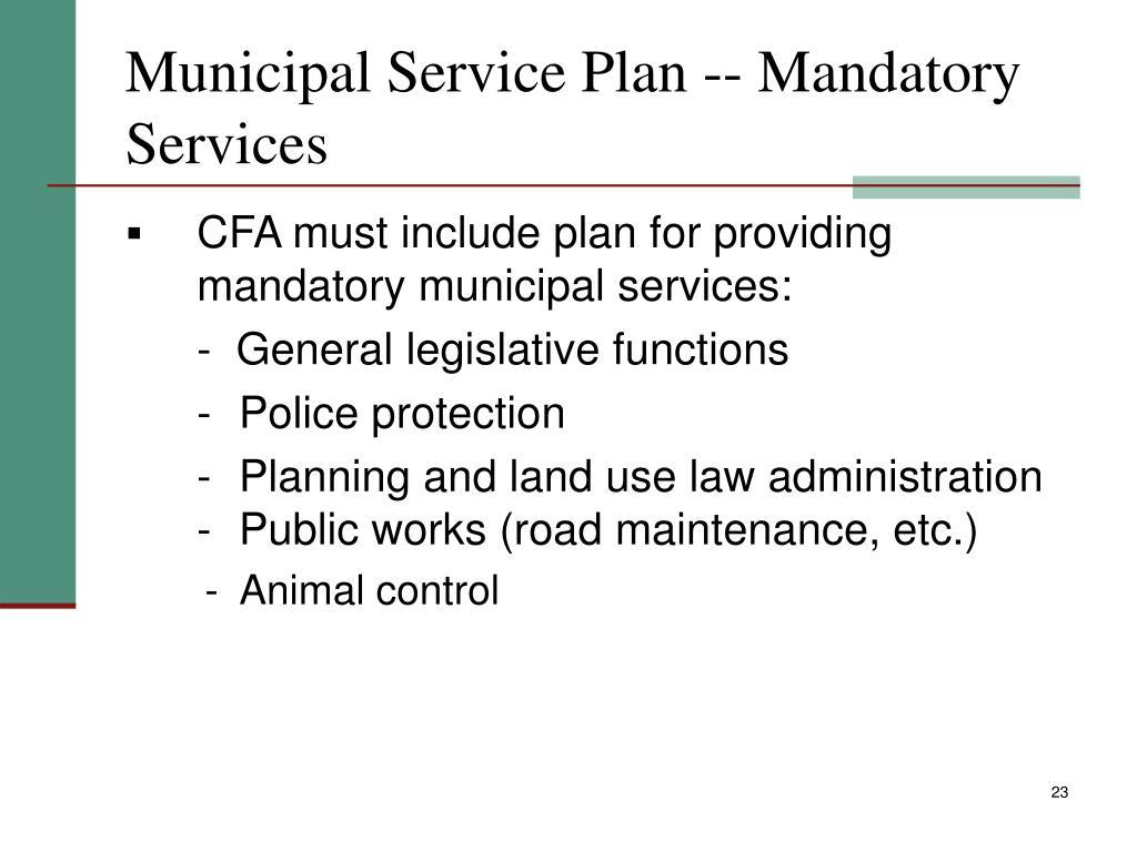 Municipal Service Plan -- Mandatory Services