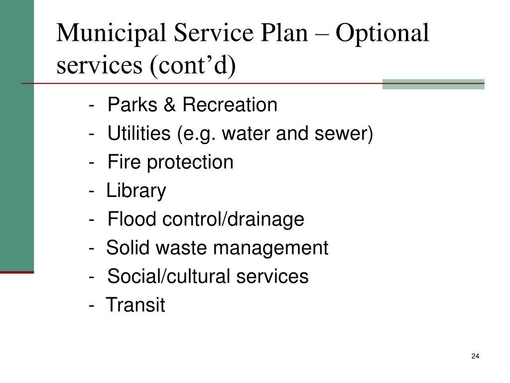 Municipal Service Plan – Optional services (cont'd)