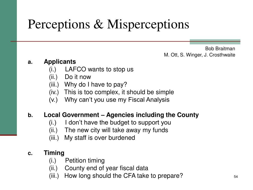 Perceptions & Misperceptions