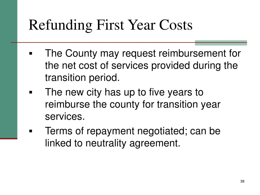 Refunding First Year Costs