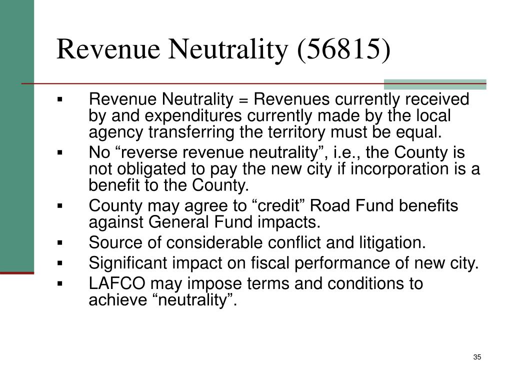 Revenue Neutrality (56815)