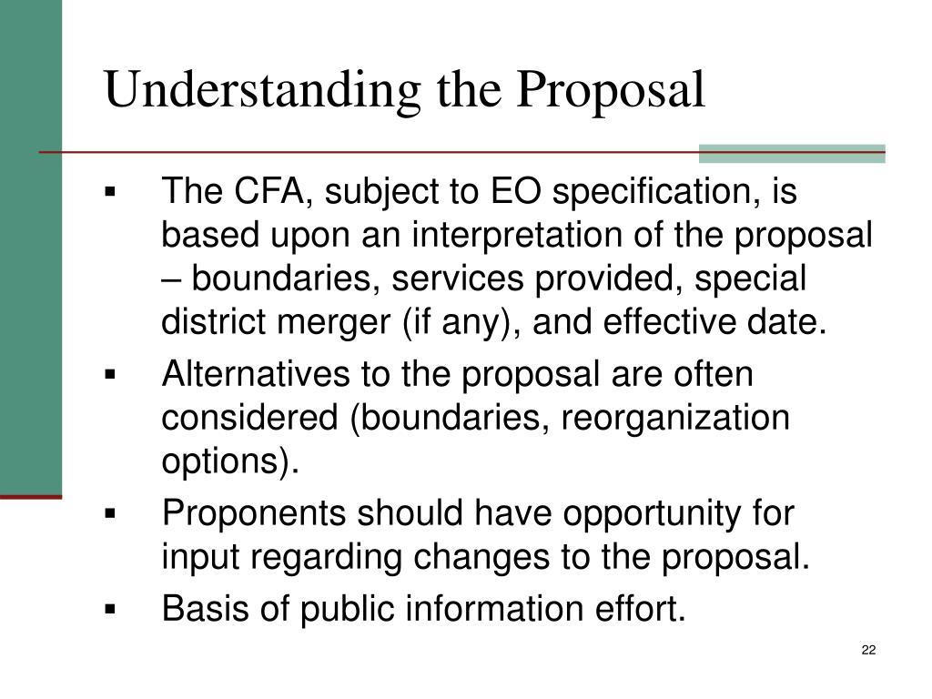 Understanding the Proposal