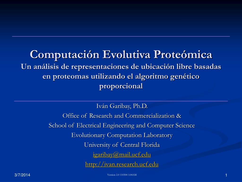 Computación Evolutiva Proteómica