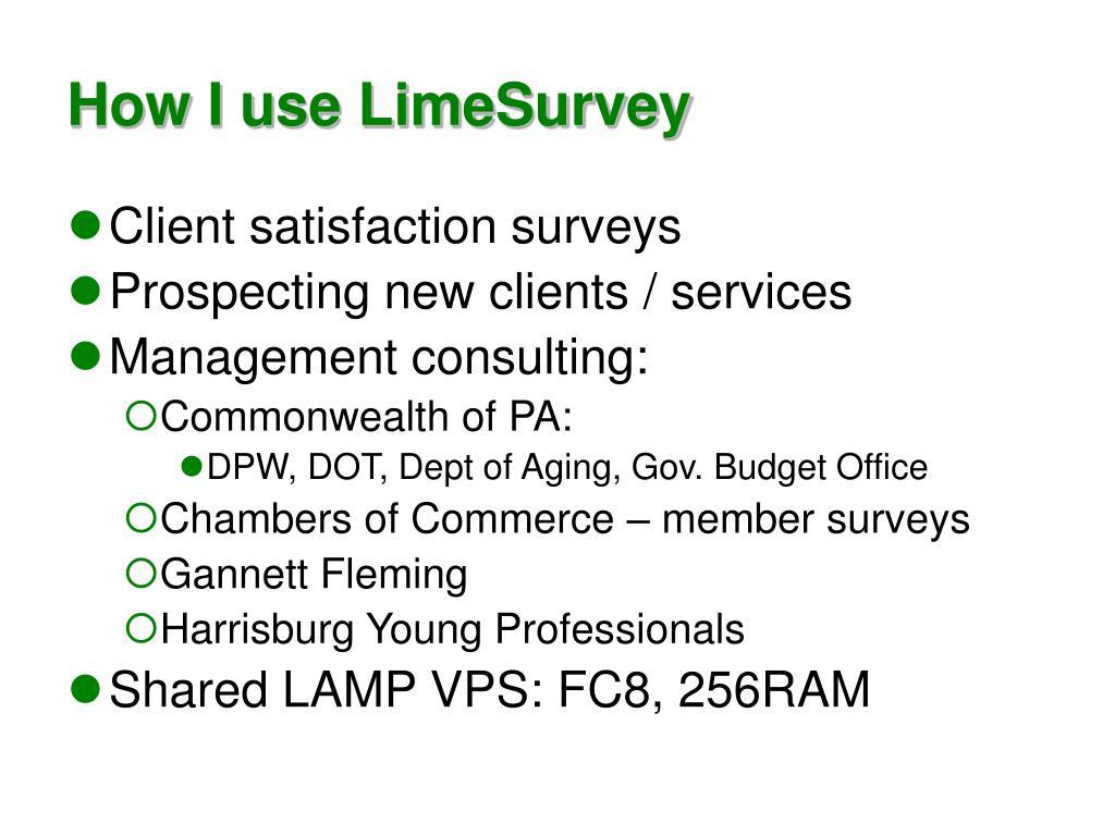 How I use LimeSurvey