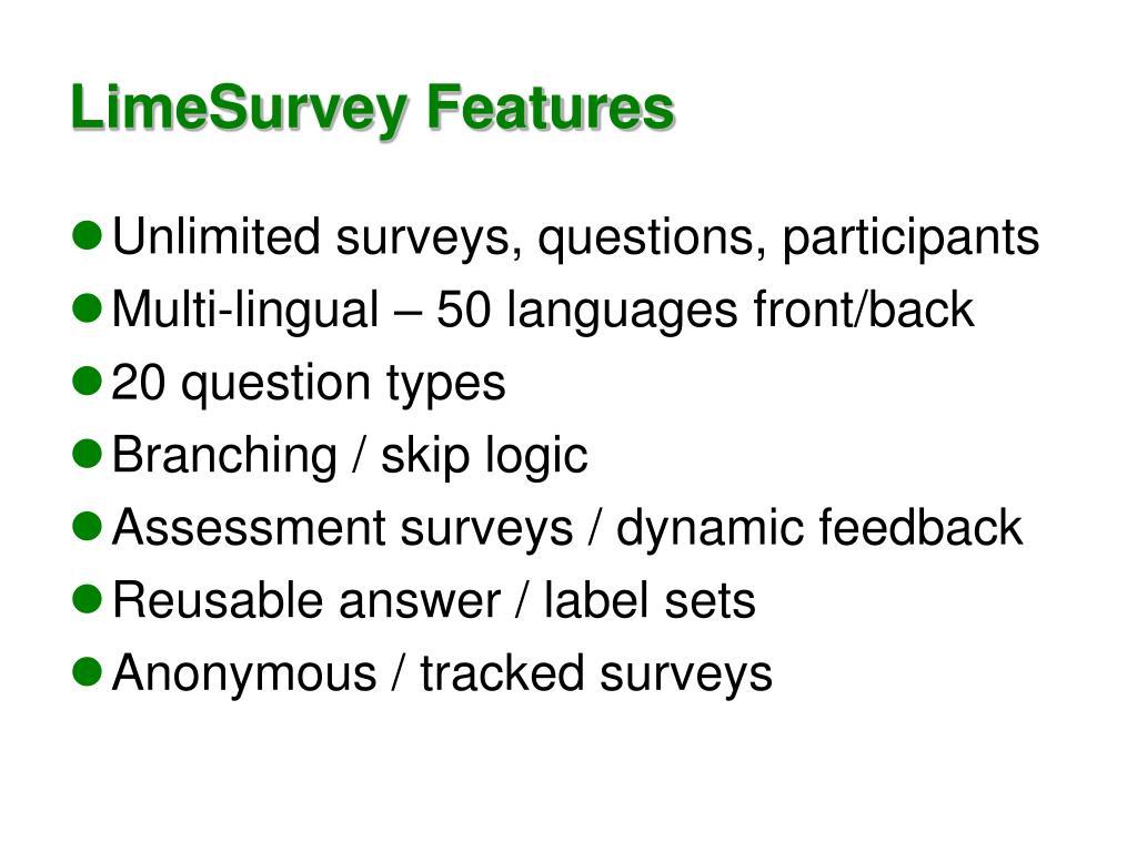 LimeSurvey Features
