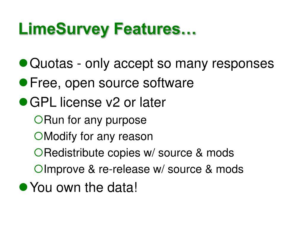 LimeSurvey Features…