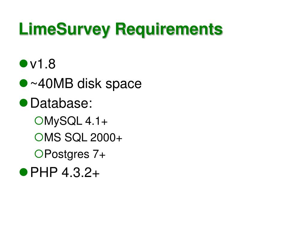 LimeSurvey Requirements