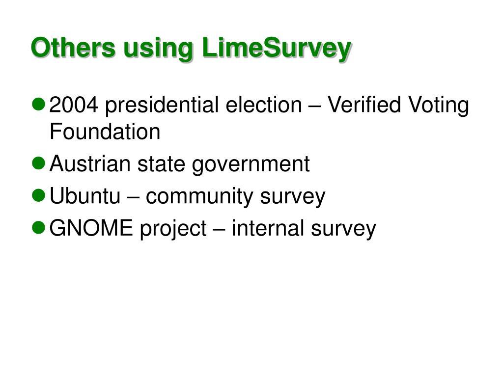 Others using LimeSurvey