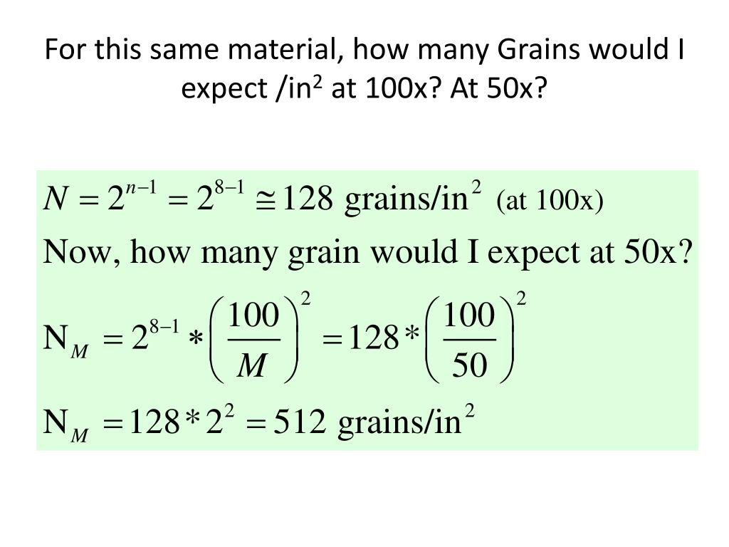 For this same material, how many Grains would I expect /in