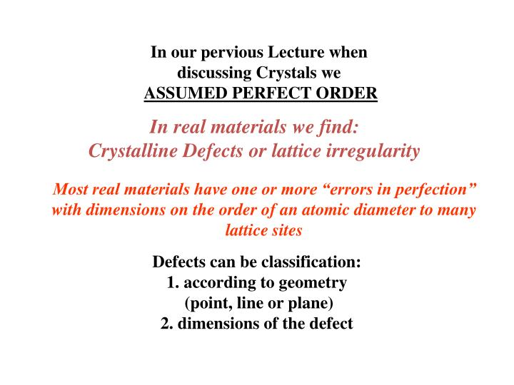 In our pervious Lecture when discussing Crystals we