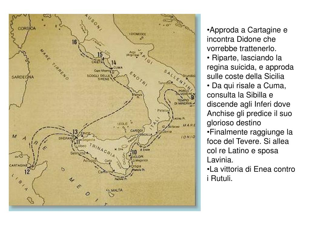 Approda a Cartagine e incontra Didone che vorrebbe trattenerlo.