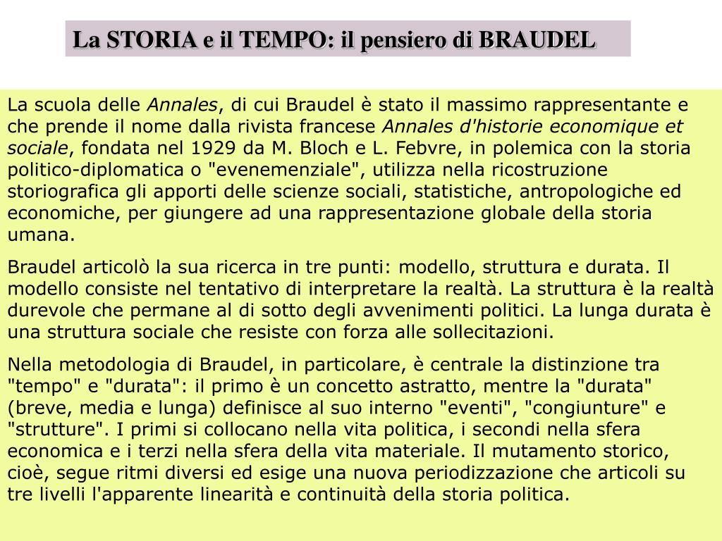 La STORIA e il TEMPO: il pensiero di BRAUDEL