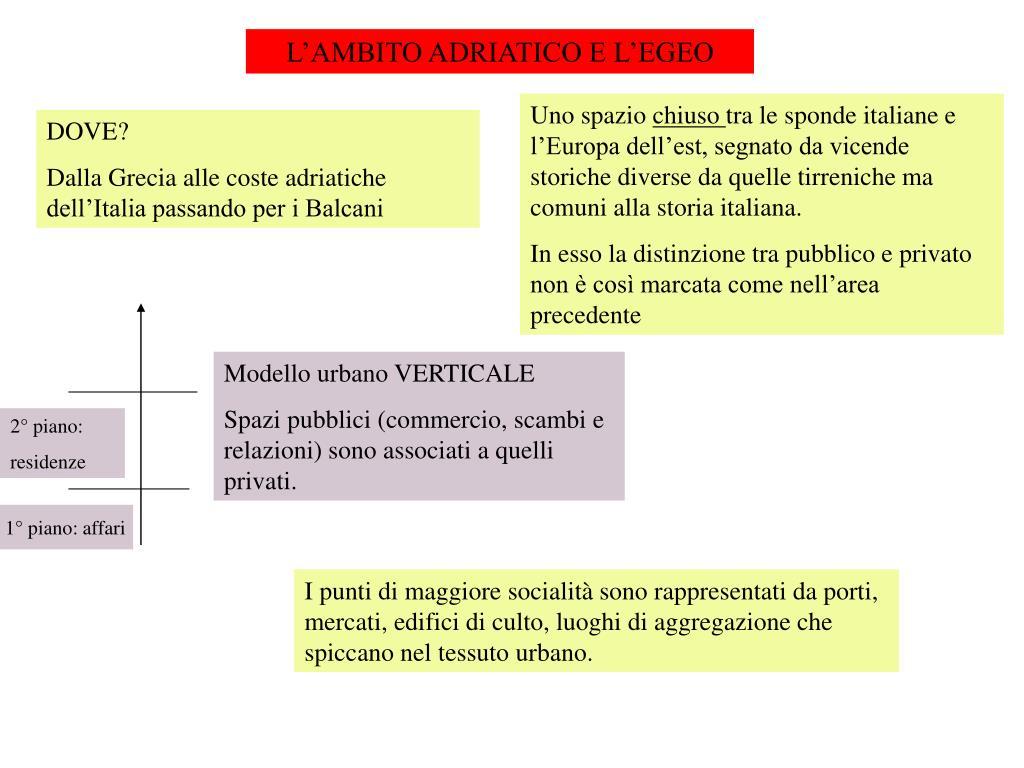 L'AMBITO ADRIATICO E L'EGEO
