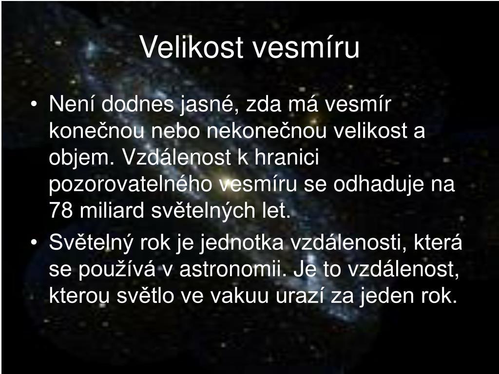 Velikost vesmíru