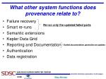 what other system functions does provenance relate to