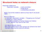 structural holes vs network closure