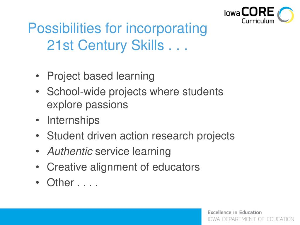 Possibilities for incorporating 21st Century Skills . . .
