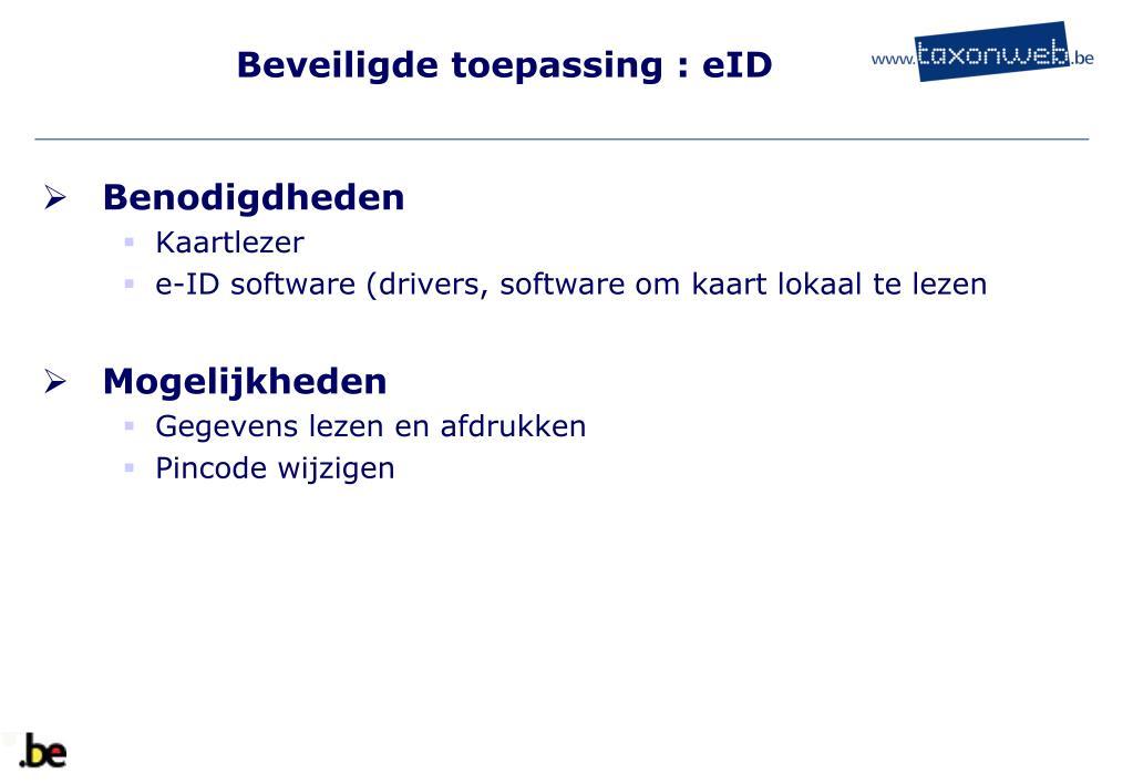 Beveiligde toepassing : eID