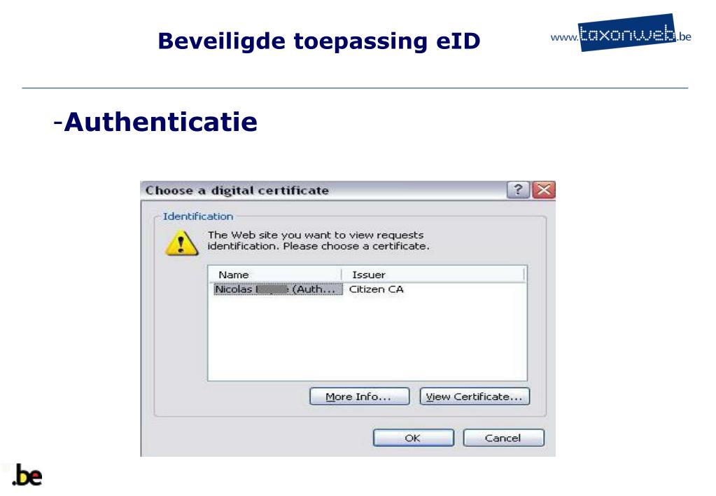 Beveiligde toepassing eID