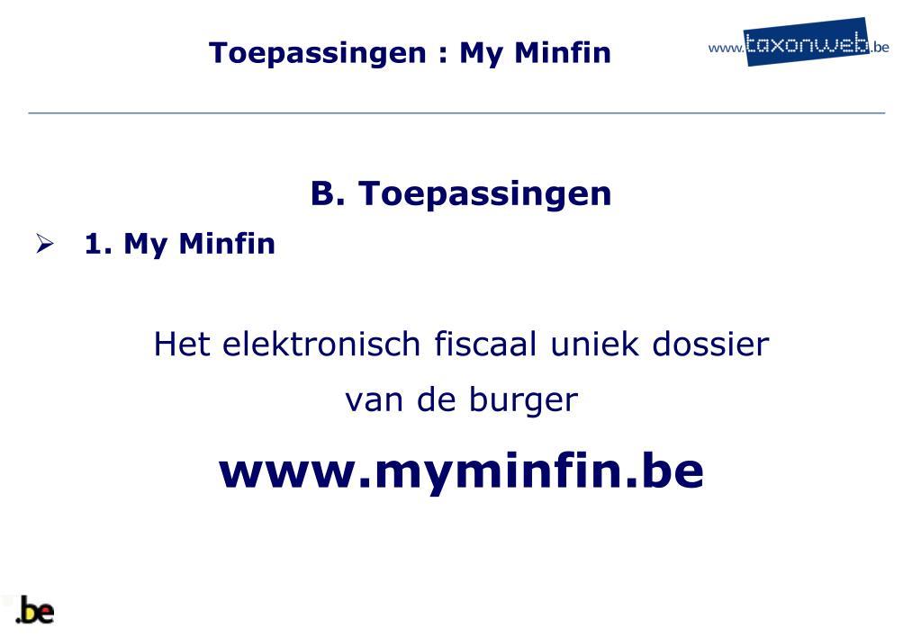 Toepassingen : My Minfin