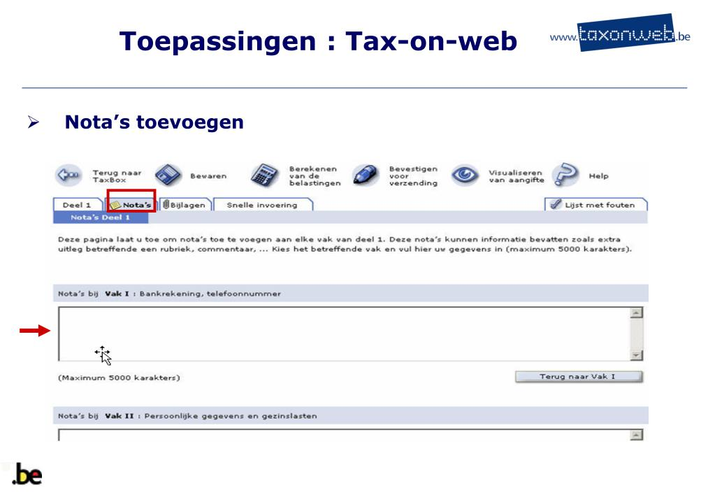 Toepassingen : Tax-on-web