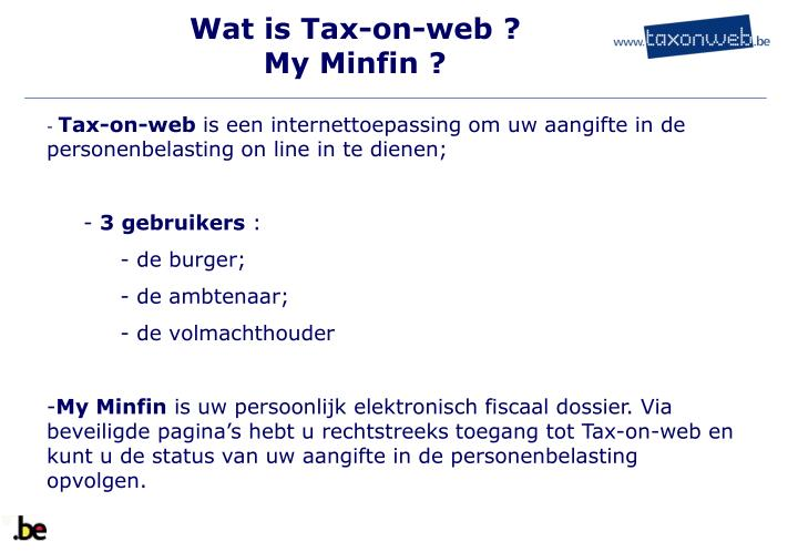 Wat is tax on web my minfin