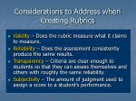 considerations to address when creating rubrics