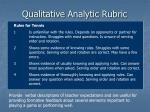 qualitative analytic rubric