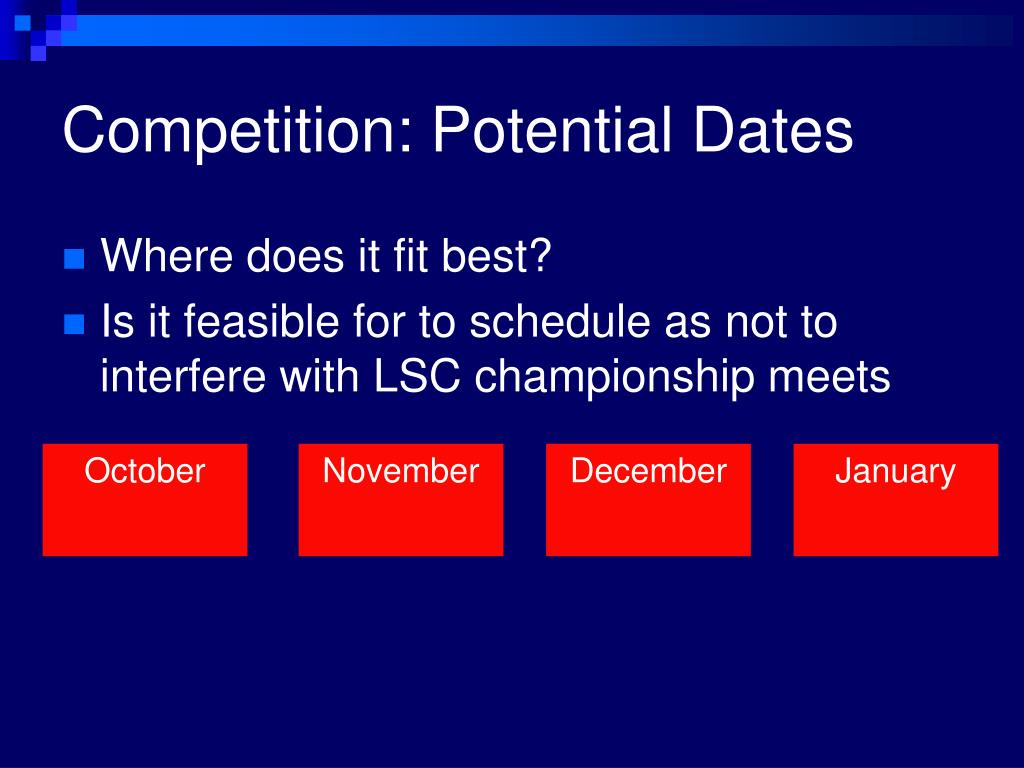 Competition: Potential Dates