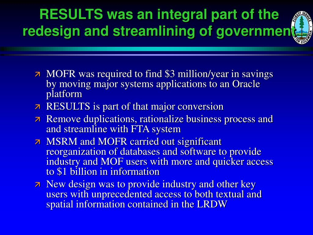 RESULTS was an integral part of the redesign and streamlining of government