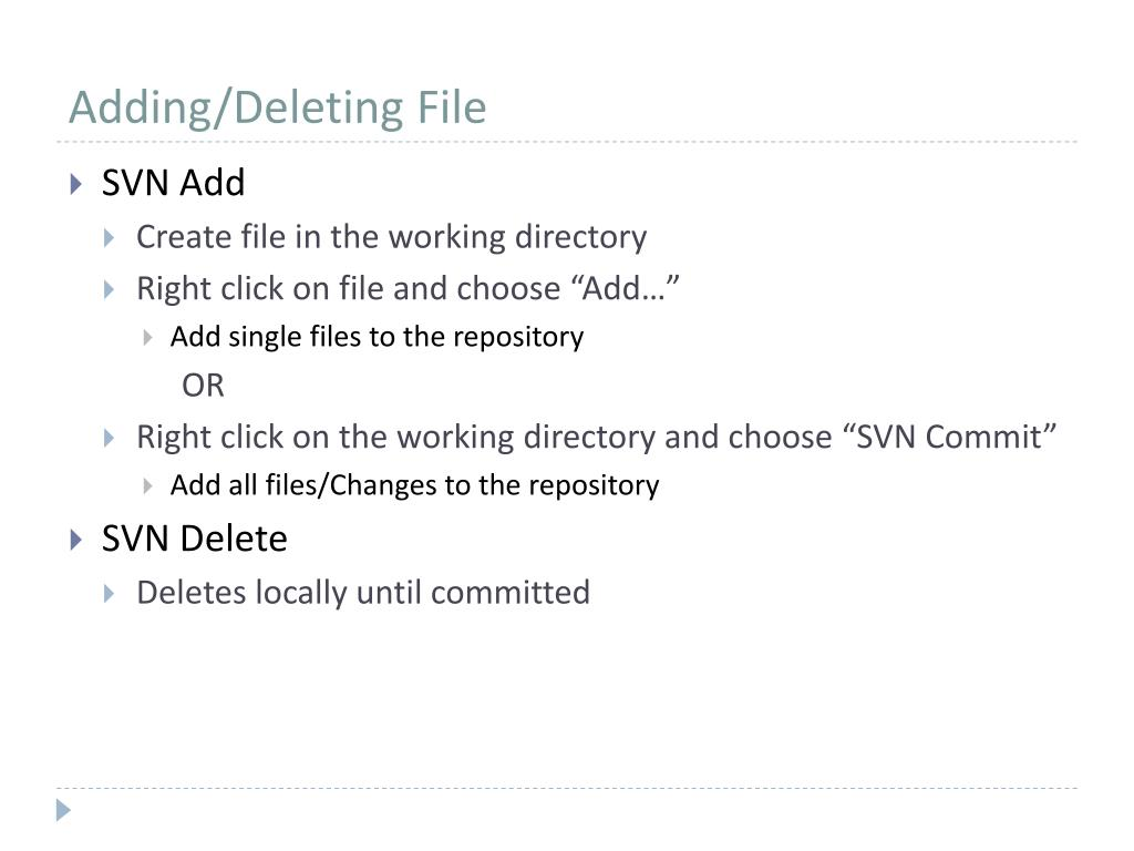 Adding/Deleting File
