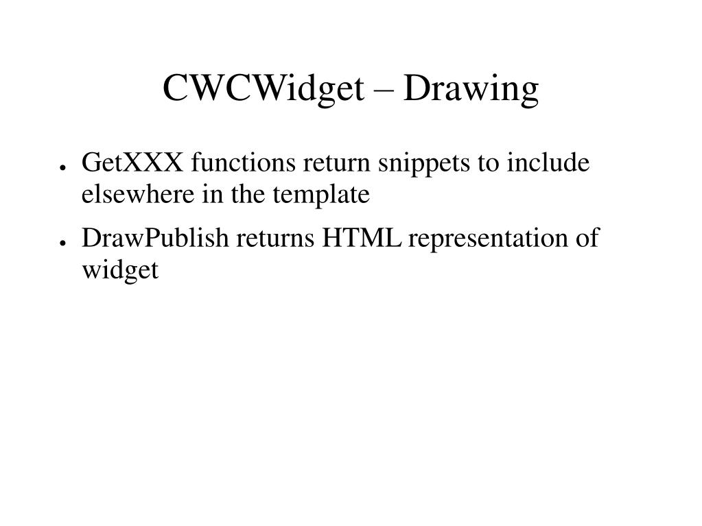 CWCWidget – Drawing