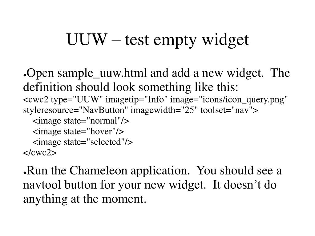 UUW – test empty widget
