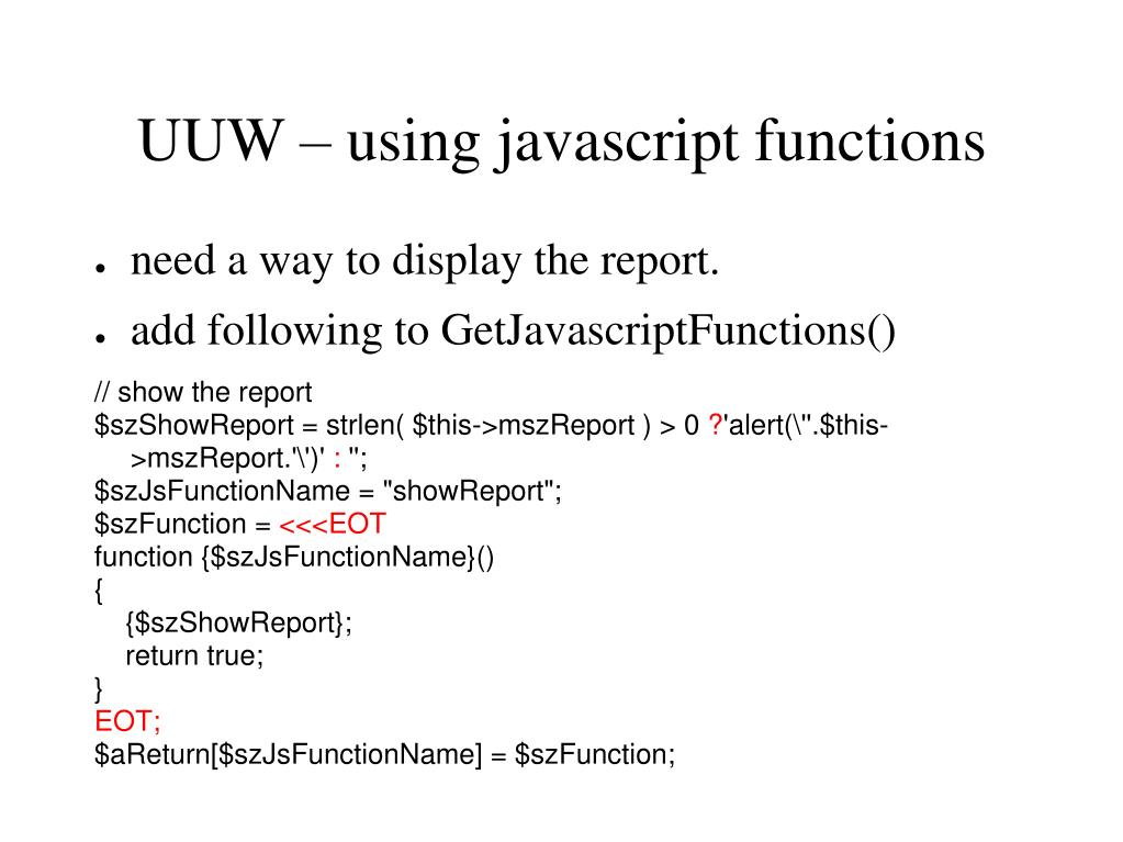 UUW – using javascript functions