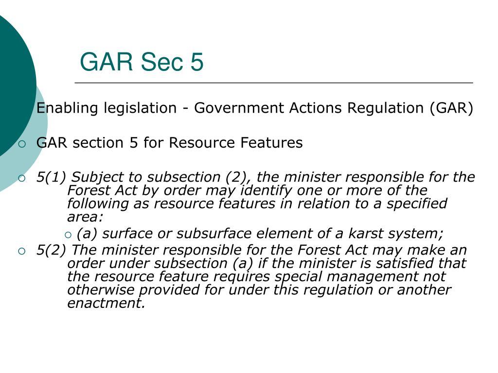GAR Sec 5
