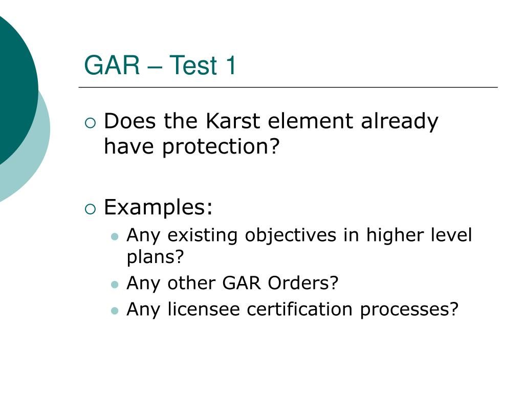GAR – Test 1