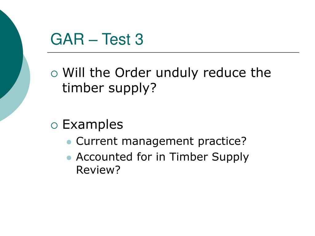 GAR – Test 3