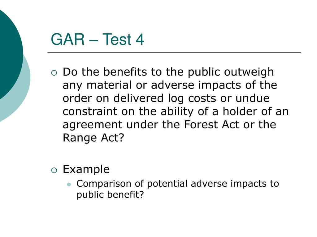 GAR – Test 4