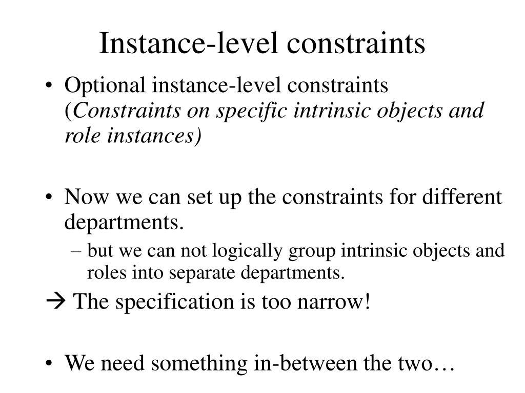 Instance-level constraints