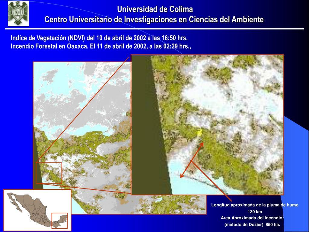 Indíce de Vegetación (NDVI) del 10 de abril de 2002 a las 16:50 hrs.