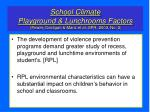 school climate playground lunchrooms factors power costigan manz et al spr 2003 no 3