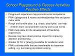 school playground recess activities positive effects
