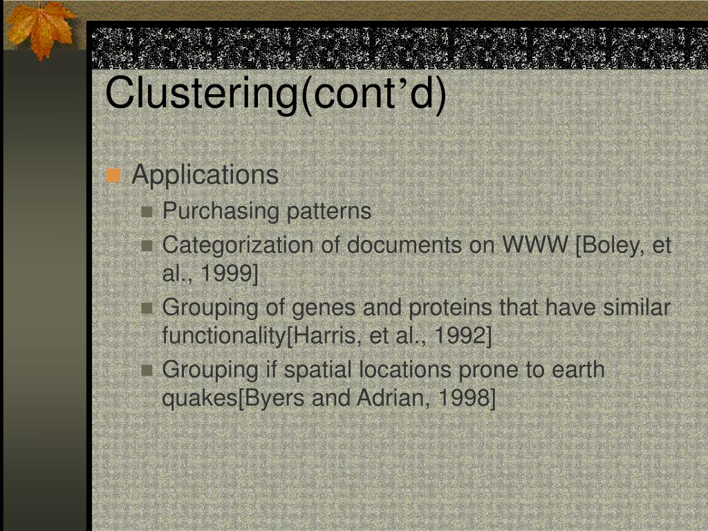 Clustering(cont